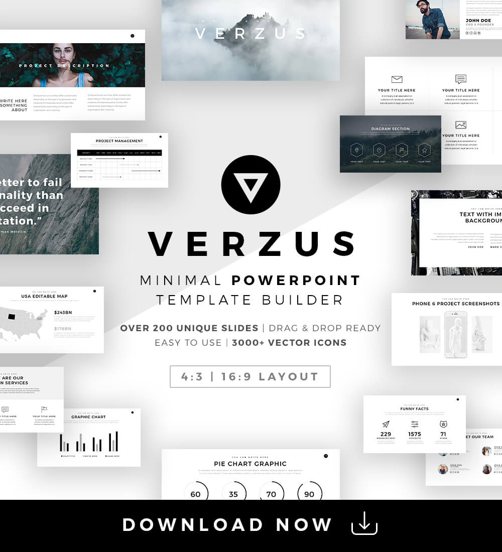 Verzus Minimal Powerpoint Template Download button