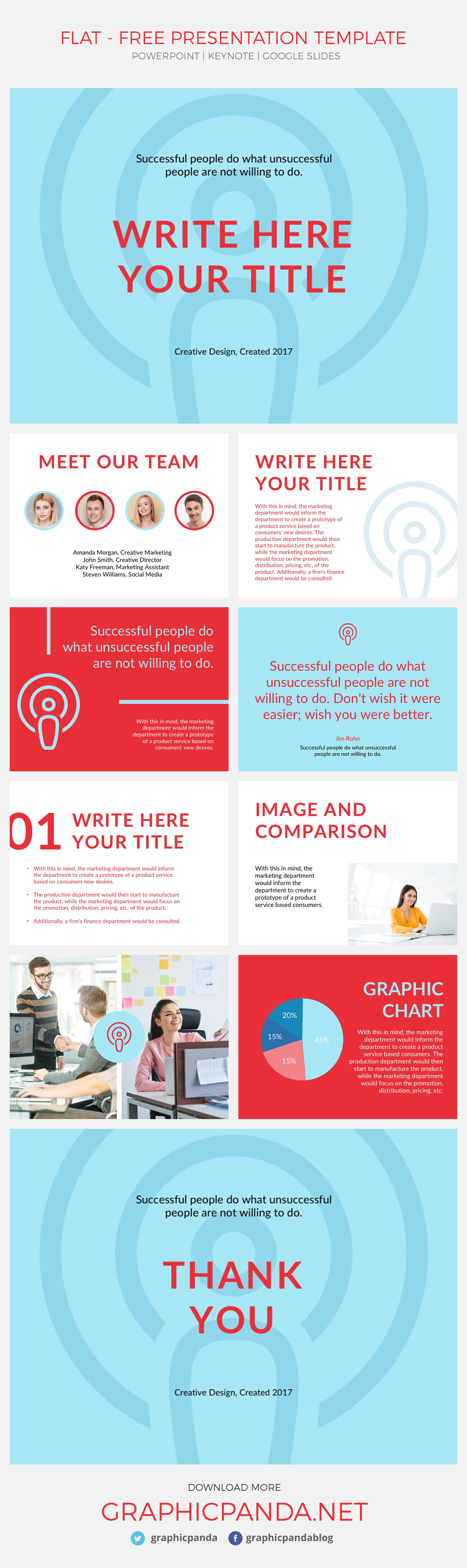 Present your ideas in a simple yet creative way with Flat Free Presentation Template. This creative presentation template allows you to add your information, replace pictures of your team and company, adjust graphics and present your ideas in a visual and outstanding way. It's really simple to use and it also comes packed with dozens of vector icons as a bonus to help you out on representing the different products or departments of your project. No matter the industry you are on you will always find this template useful.