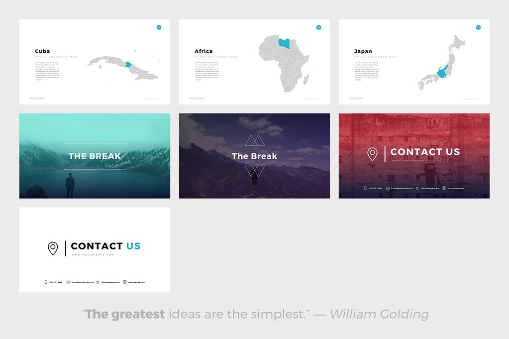 Elevation Minimal PowerPoint Template - best powerpoint templates