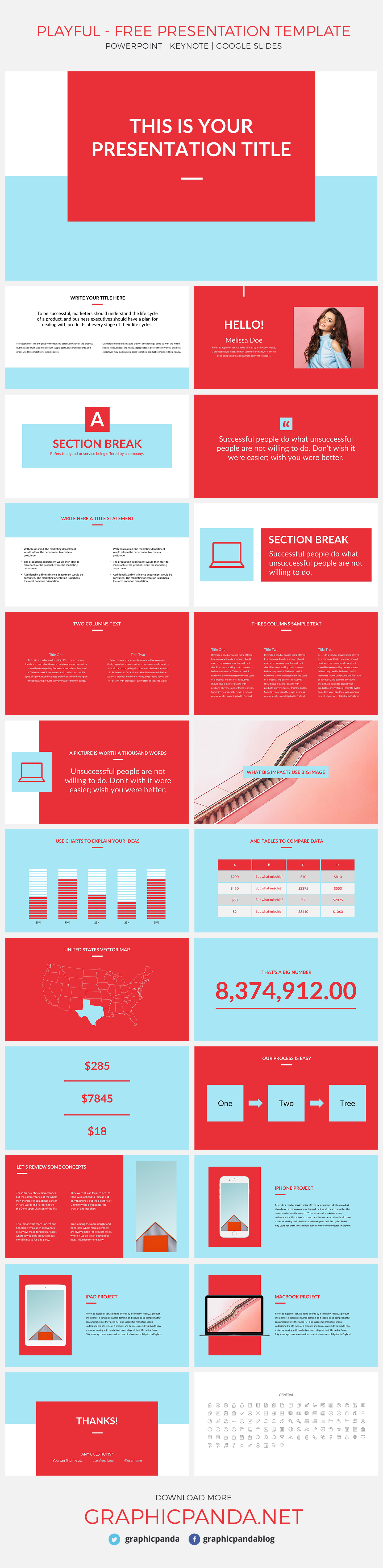 Playful free presentation template for powerpoint, Apple Keynote, and Google Slides is a colorful and simple to use pitch deck for you to use without any cost. It has a refreshing color scheme that isn't boring but keeps you looking professional. Each slide has a burst of color that makes your data pop out but not distract your audience from your overall point.