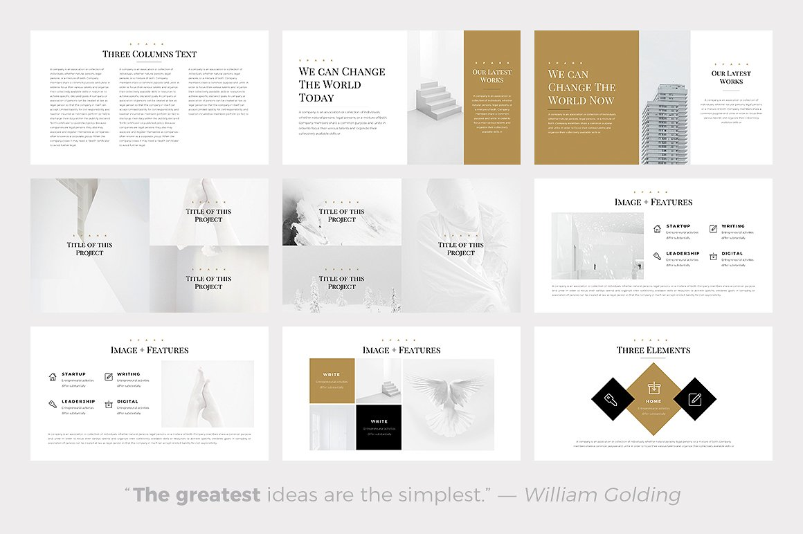 Spark Minimal Templates - PowerPoint Templates - Keynote Themes - Google Slides.psd