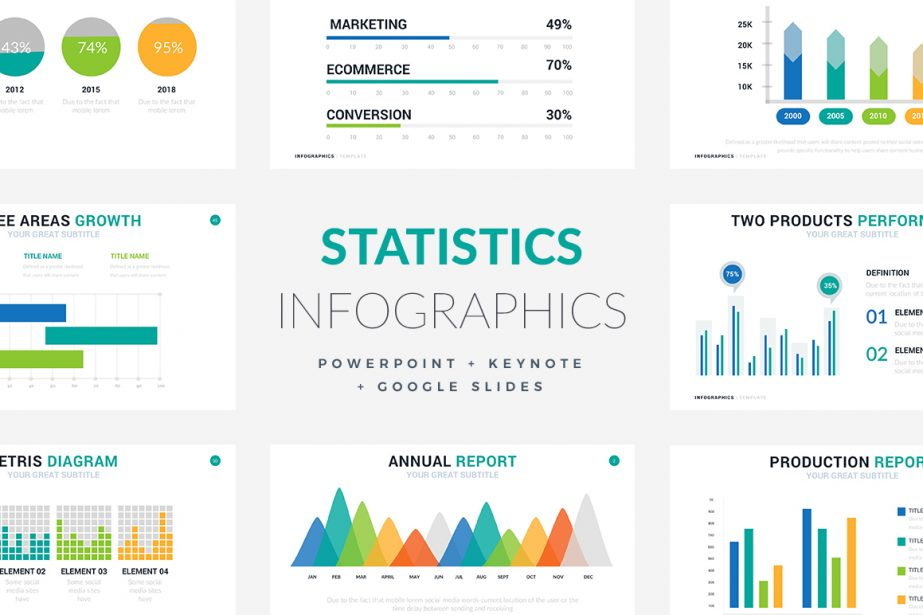 Statistics Infographic Templates - PowerPoint Templates - Keynote Themes - Google Slides