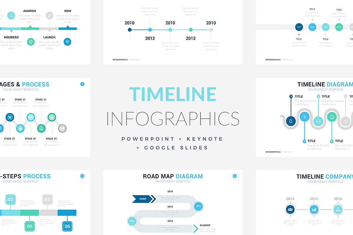 Timeline Infographic Templates PowerPoint Template, Keynote Themes, Google Slides
