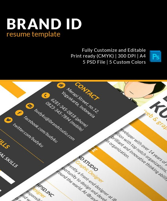 Brand ID Resume Template PSD