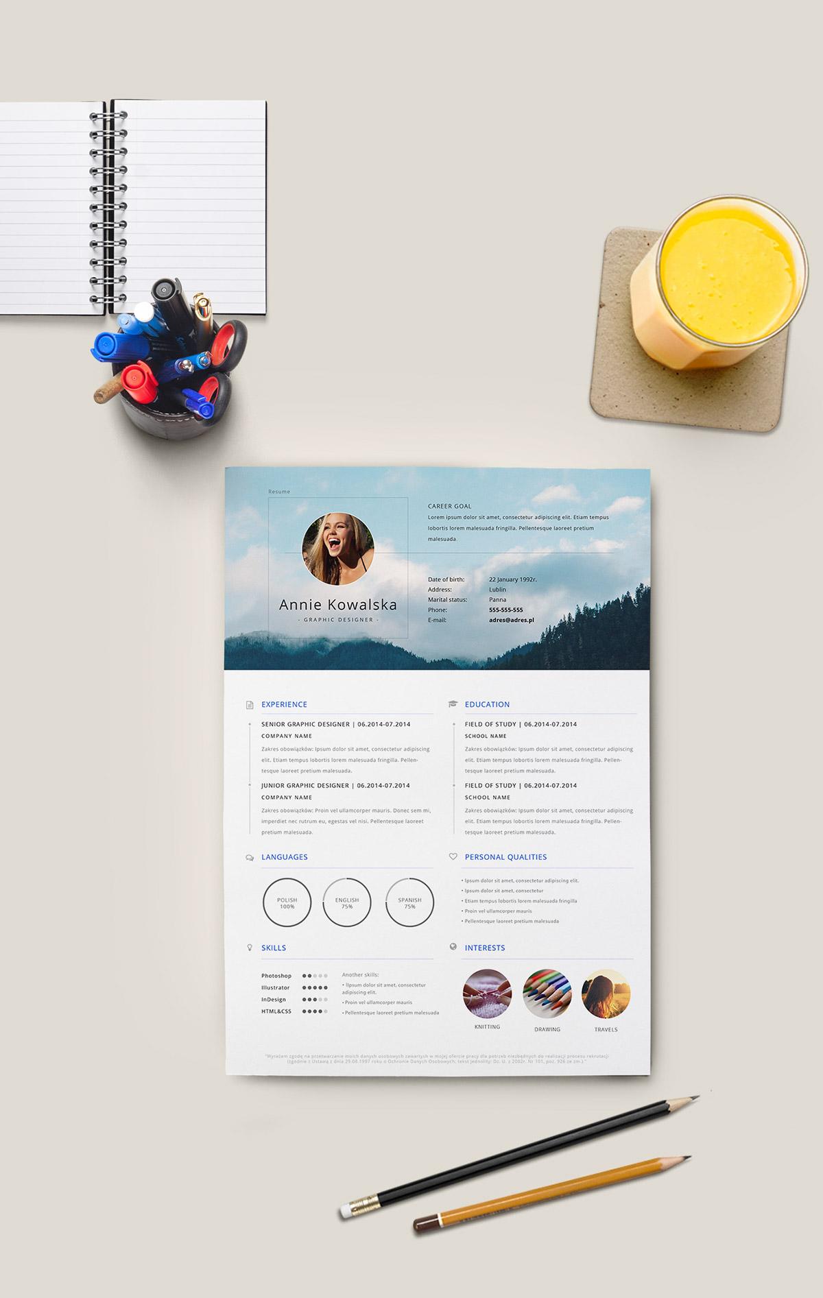 Free Minimalistic Resume CV Template (AI)