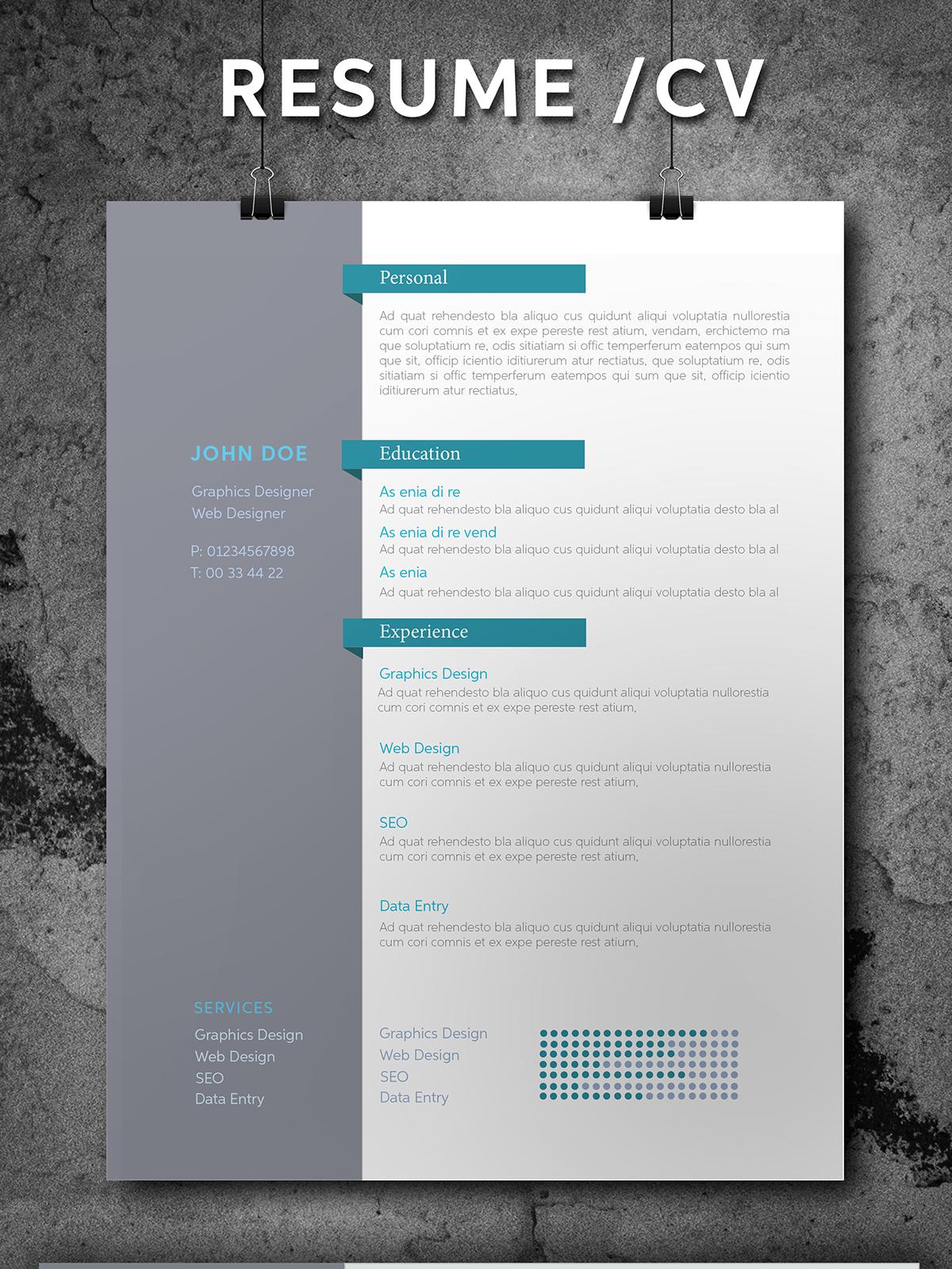 Free Resume CV Template Freebie