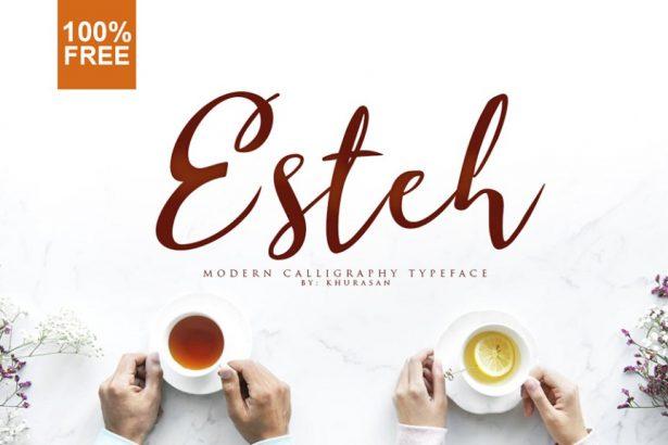 01 - Esteh Script Free Font Typeface