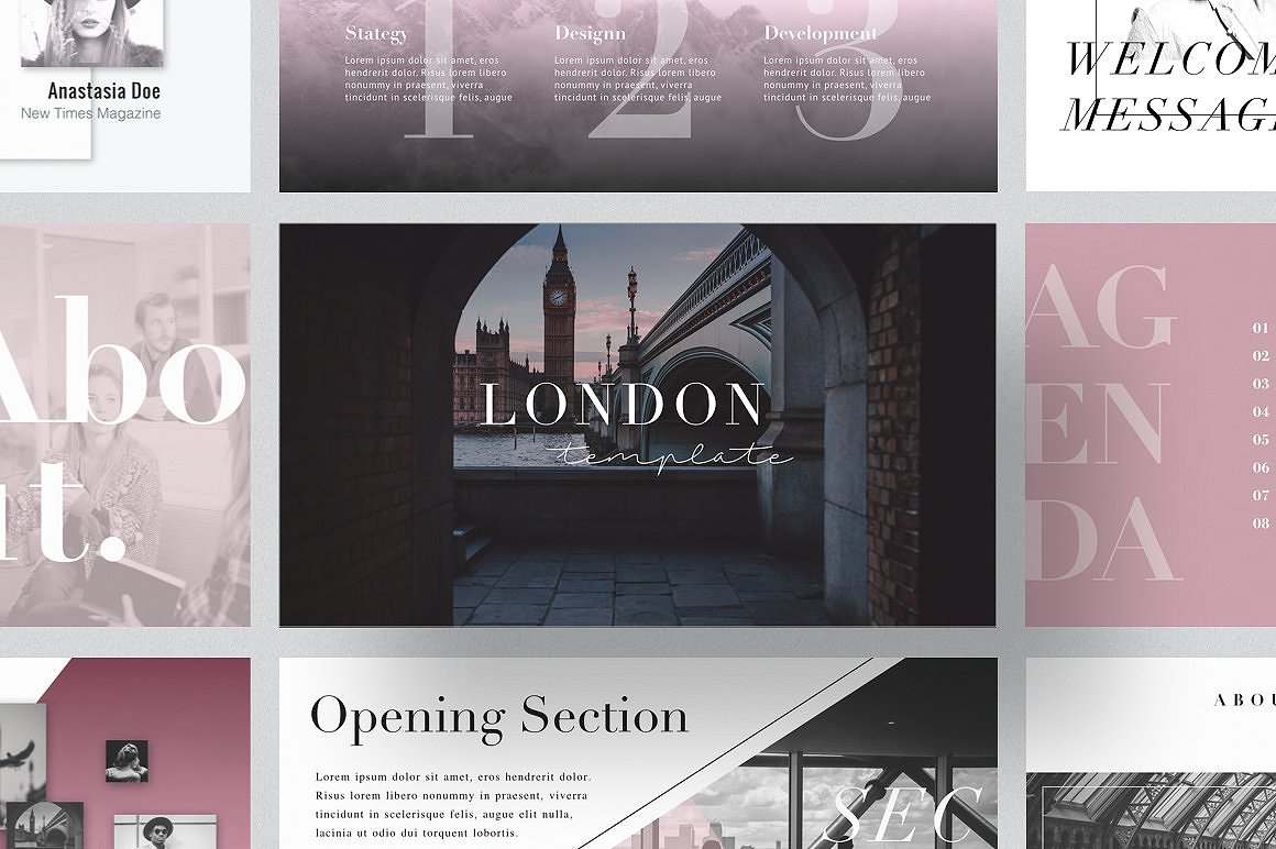 9 - LONDON PowerPoint Template + Gift