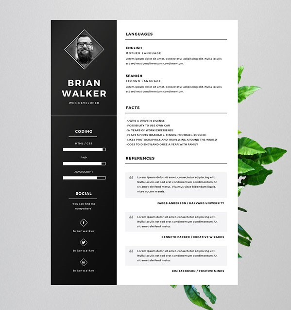01 - Free Resume for Word, Photoshop & Illustrator