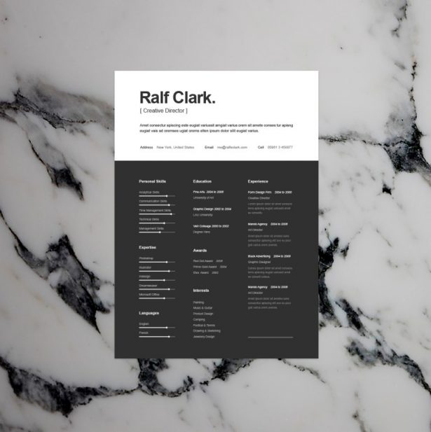 1 - BW Resume Template