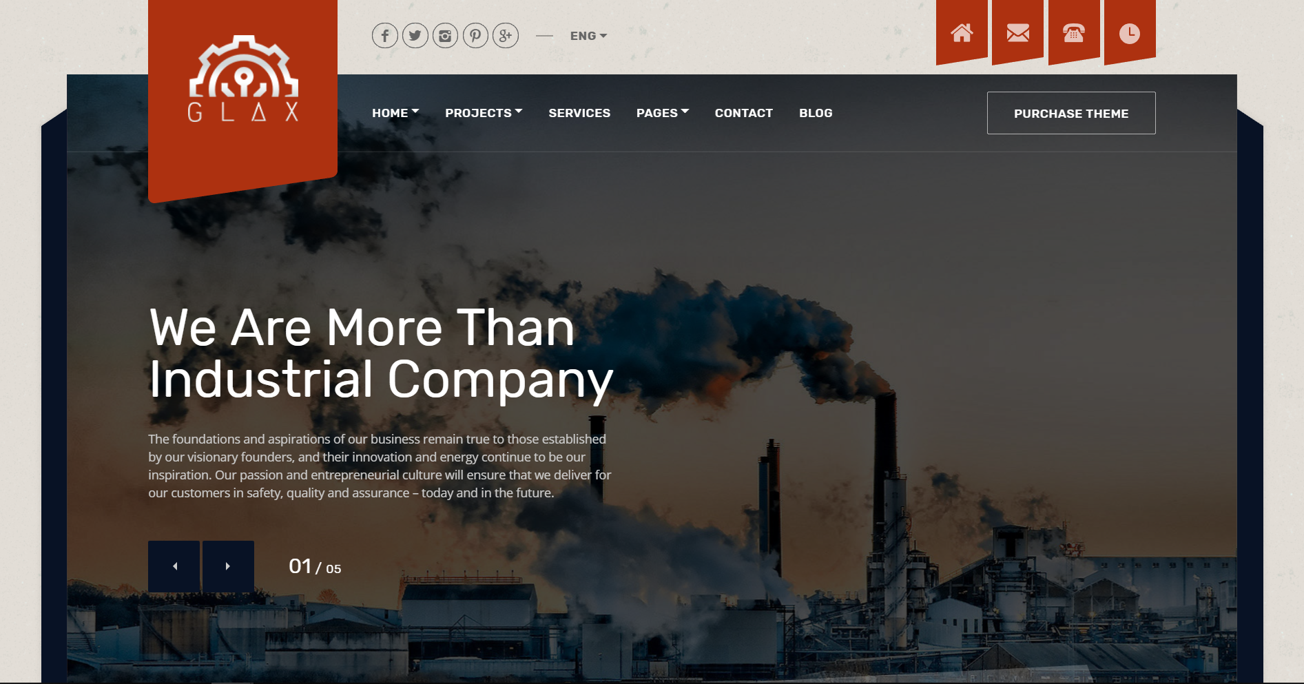 10. Glax Industry WordPress Theme