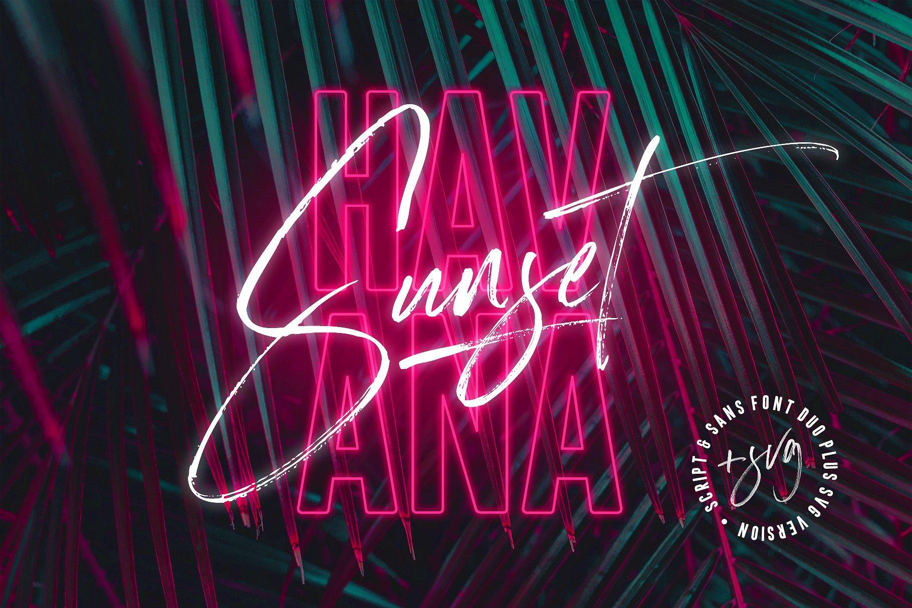13. Havana Sunset Font Duo + SVG