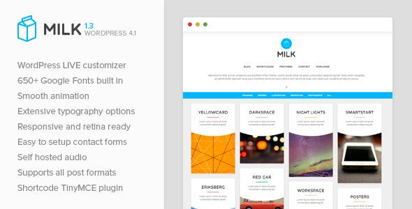14 - Milk - Simple Masonry WordPress Portfolio