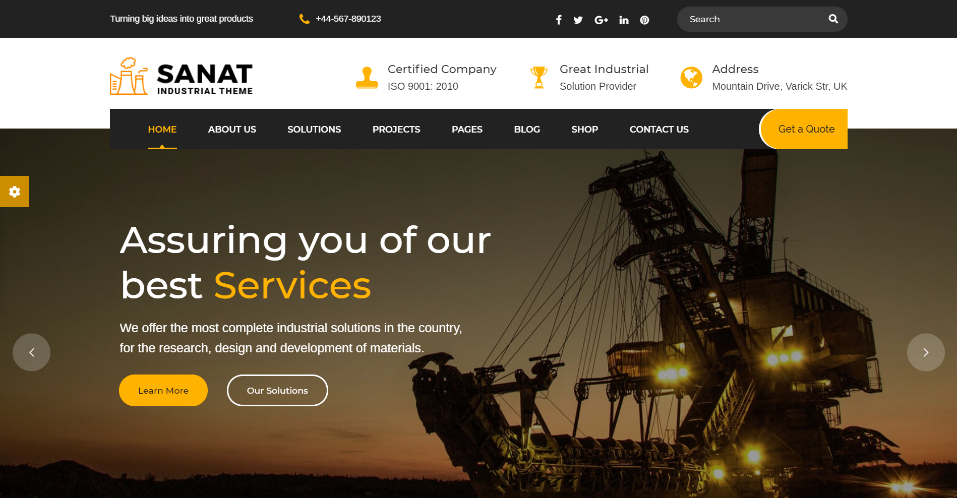 14. Sanat - Factory & Industry WordPress Theme