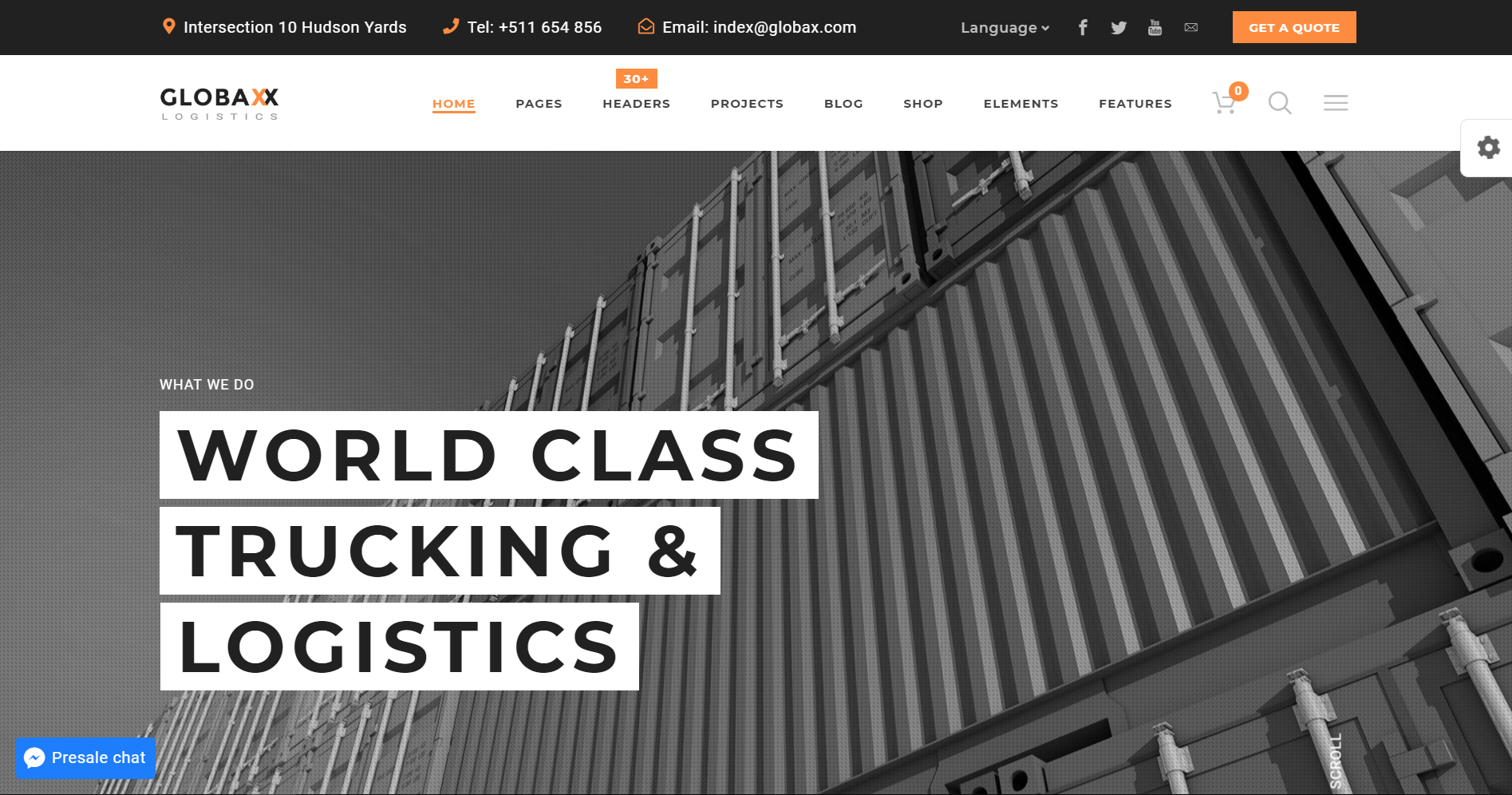 18. Globax - Logistic WordPress Theme + WooCommerce