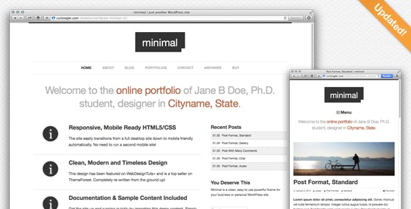 3 - Minimal WordPress Portfolio