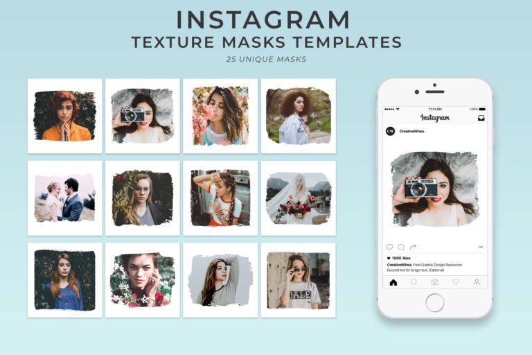 33. Free Textures Instagram Mask Templates PSD