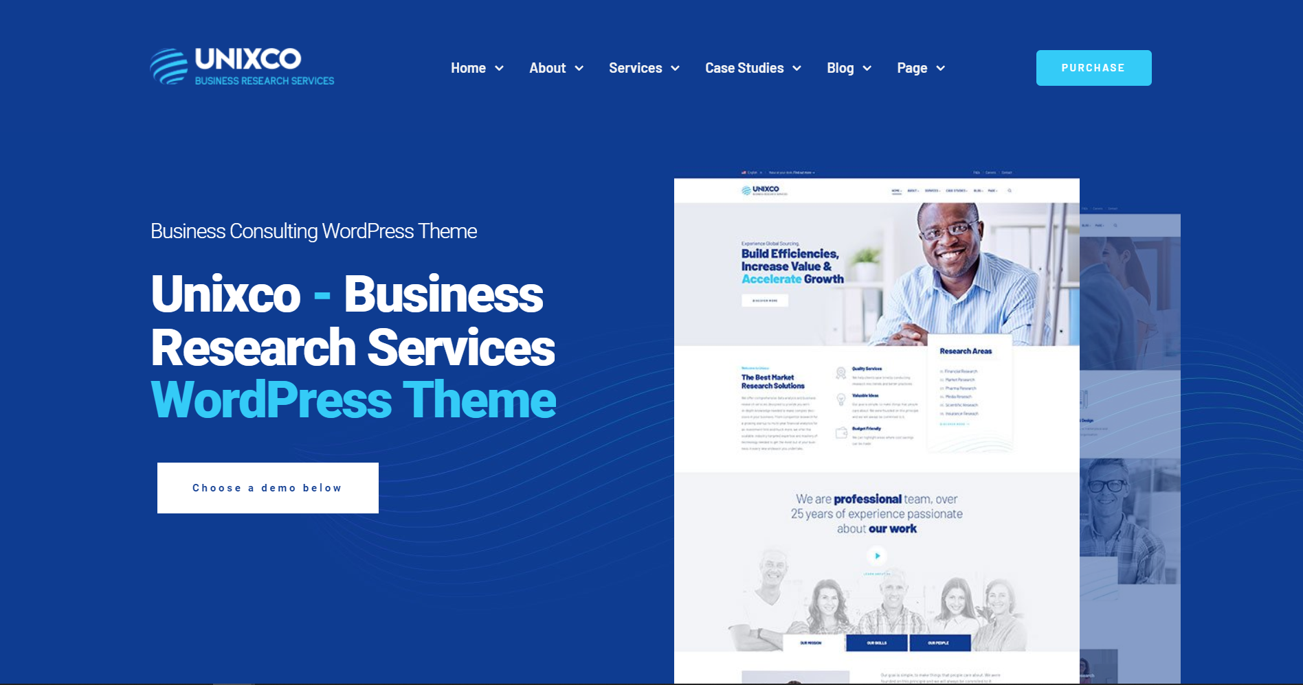 38. Unixco - Business Research Services WordPress Theme