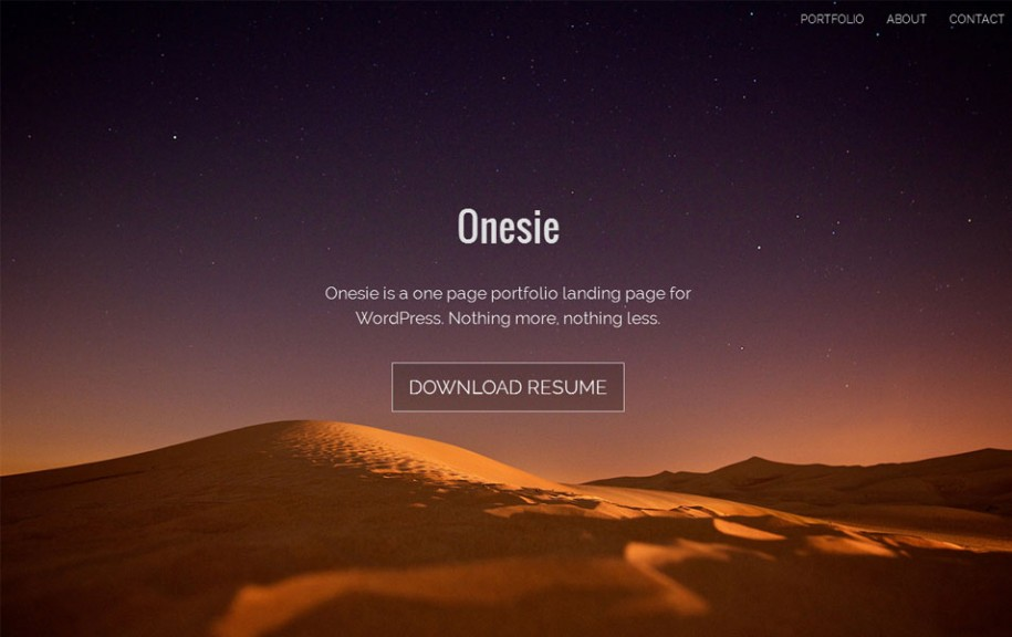 49 - Onesie Free Portfolio WordPress Theme