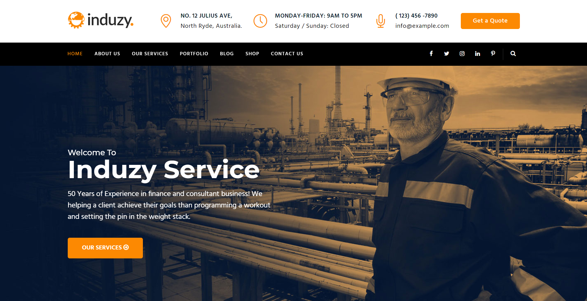5. Induzy - Factory & Industrial WordPress Theme