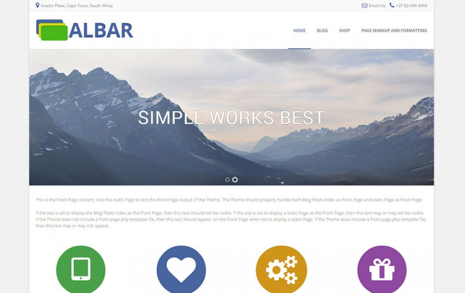 6 - Albar Free Portfolio WordPress Theme