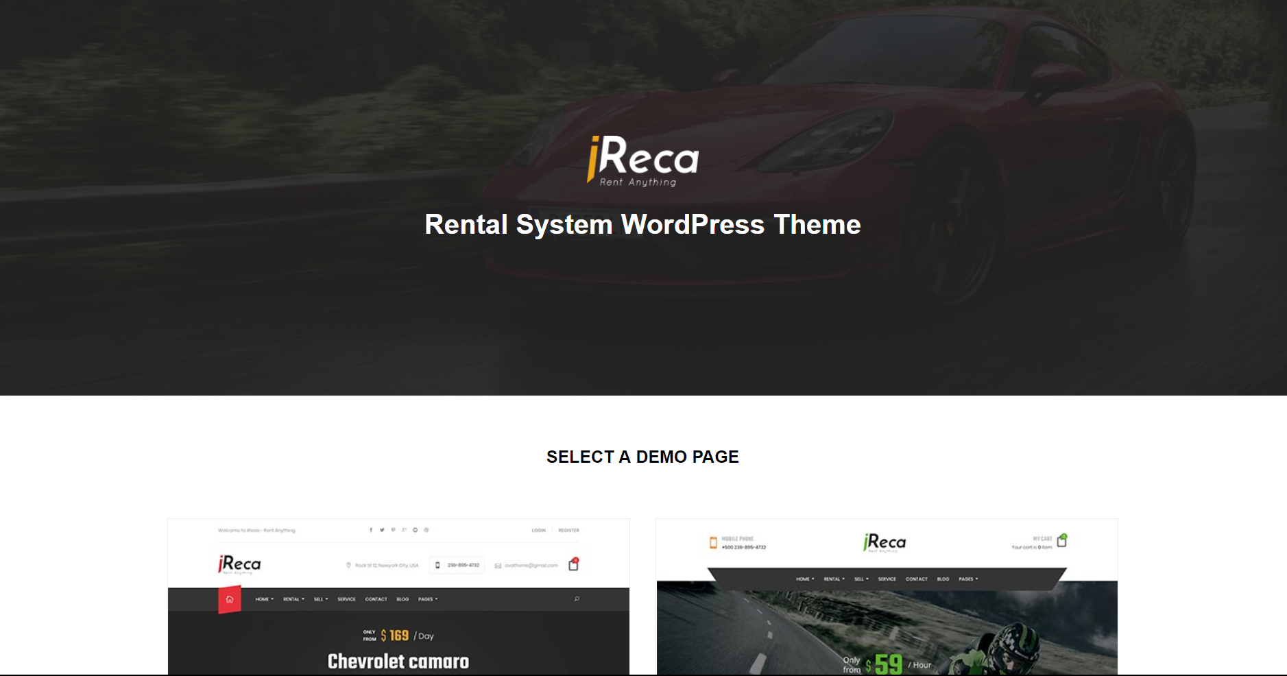 6. Ireca - Car Rental Boat, Bike, Vehicle WordPress Theme