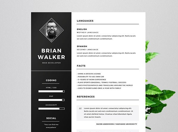 Free Resume for Word, Photoshop & Illustrator