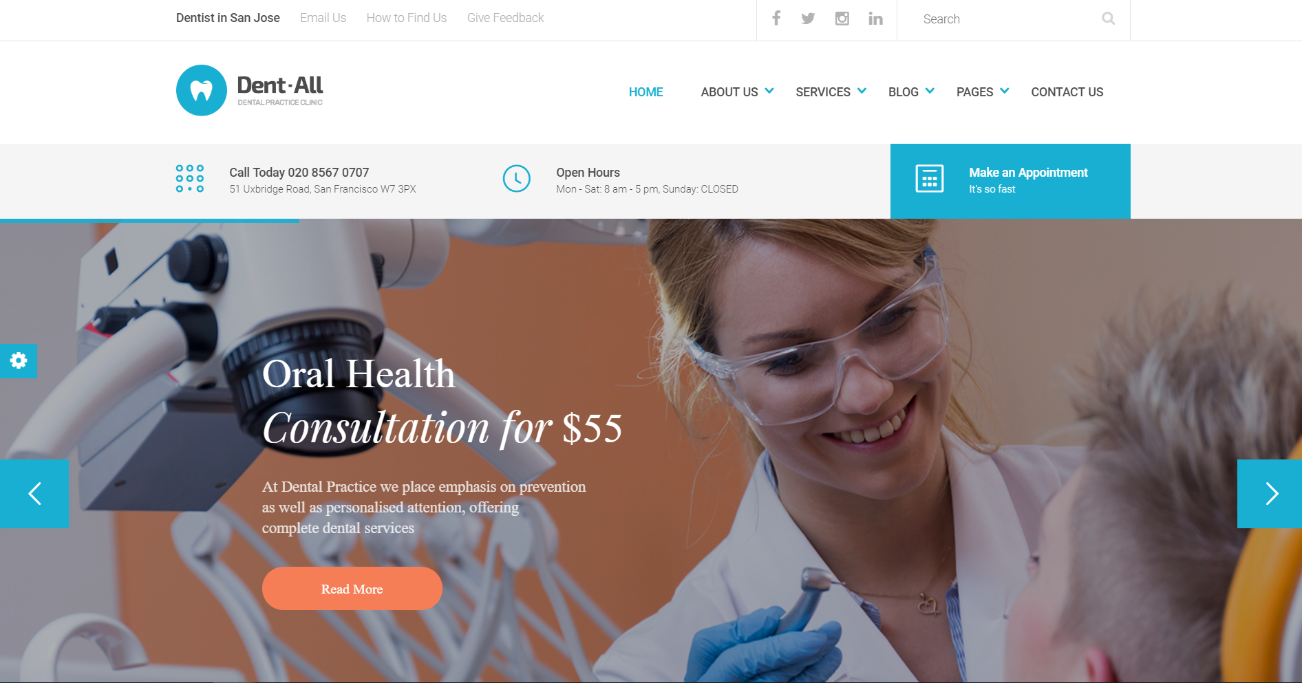 35. Dent-All - Medical Clinic, Healthcare, Dentist WordPress Theme