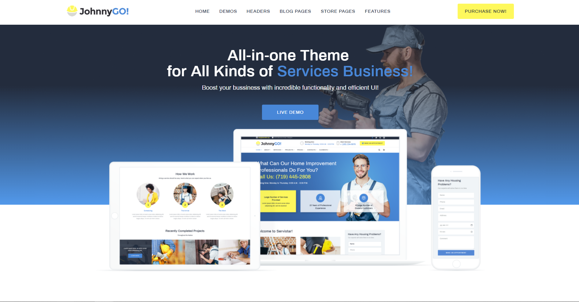 48. JohnnyGo - Handyman Service Elementor WordPress Theme
