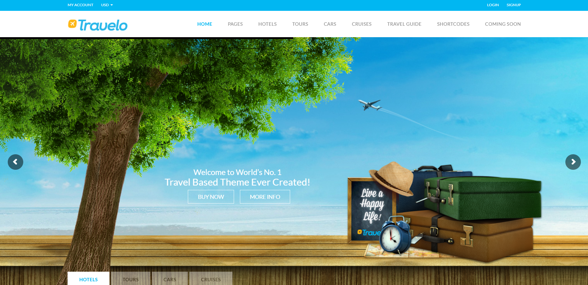 50. Travelo - TravelTourCar RetailCruise Booking WordPress Theme