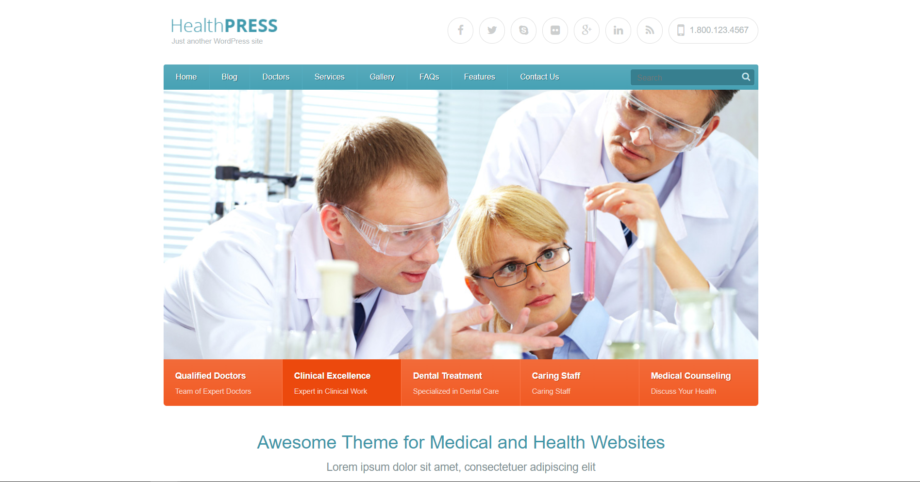 6. HealthPress - Health and Medical WordPress Theme