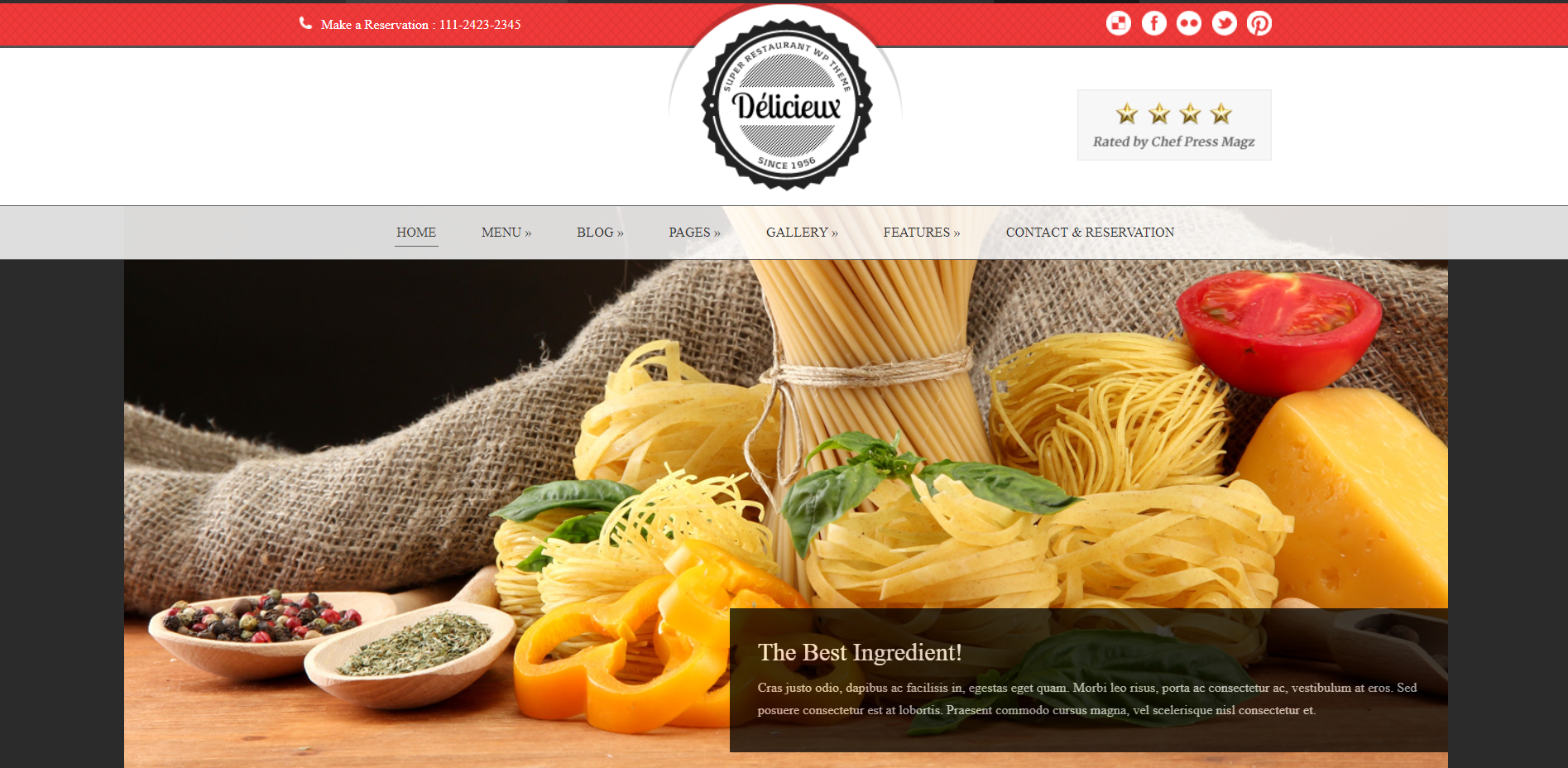 9. Delicieux - Restaurant WordPress Theme