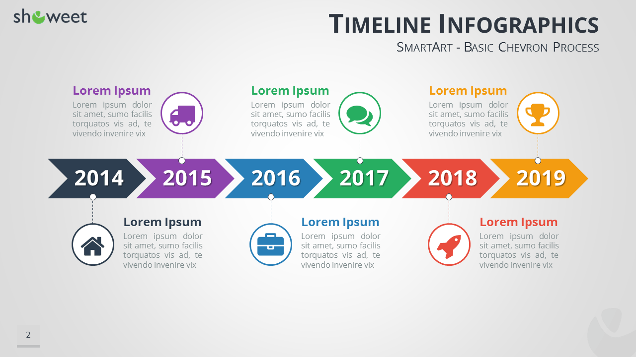 timeline infographics free presentation template
