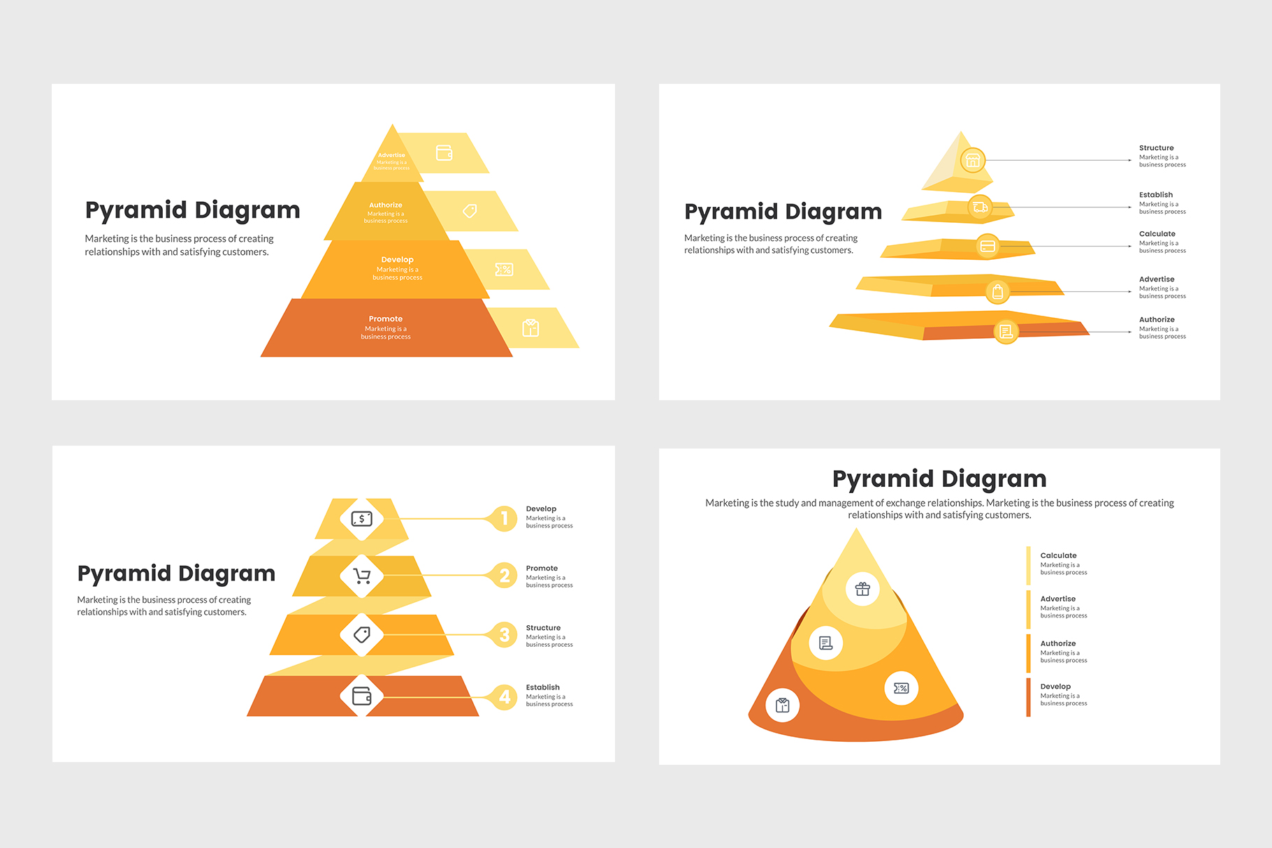 Pyramid Management Diagrams for PowerPoint